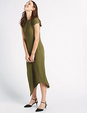 Asymmetric Cap Sleeve Midi Dress
