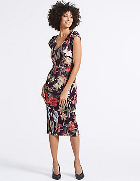 Floral Print Asymmetric Bodycon Midi Dress, PURPLE MIX, catlanding