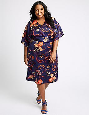 CURVE Floral Print Tunic Midi Dress , NAVY MIX, catlanding