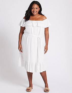 CURVE Linen Blend Bardot Midi Dress , IVORY, catlanding