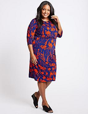 CURVE Floral Print Bodycon Dress , NAVY MIX, catlanding