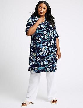 CURVE Floral Print Half Sleeve Shift Dress , BLUEBELL MIX, catlanding