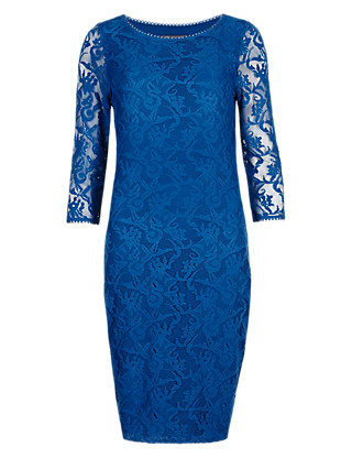 Picot Edge Floral Lace Shift Dress in Shorter & Longer Lengths Clothing