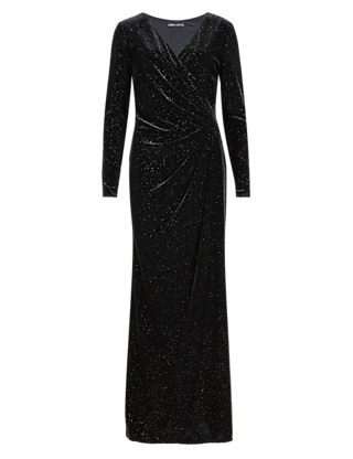 Sparkle Pleat Front Wrap Maxi Dress Clothing