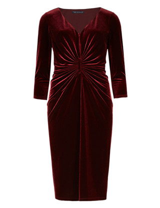 Ruched Front Velour Shift Dress Clothing