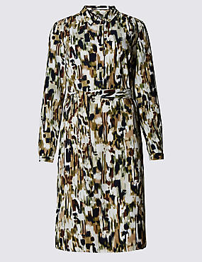 Abstract Print Belted Shirt Dress