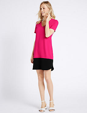 Colour Block Short Sleeve Tunic Dress