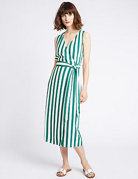 Striped Wrap Midi Dress with Belt