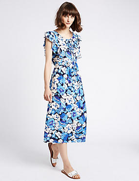 Floral Print Frill Sleeve Swing Midi Dress