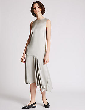 Satin Asymmetric Shift Dress