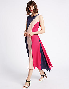 Colour Block Elliptical Hem Midi Dress
