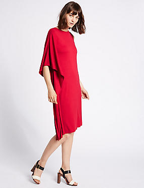 Drape 3/4 Sleeve Tunic Dress