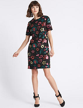 Sequin Flower Short Sleeve Tunic Dress