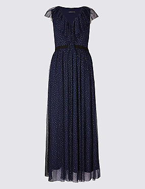 Spotted Tulle Maxi Dress