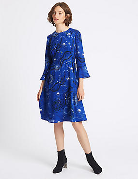 Printed Tie Side Flared Sleeve Midi Dress
