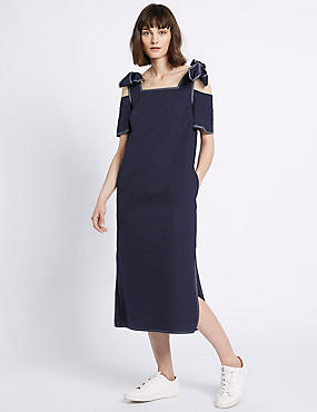 Pure Cotton Cold Shoulder Midi Dress