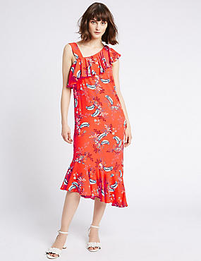 One Shoulder Floral Ruffle Tunic Dress