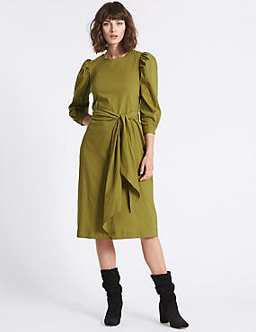 Cotton Rich Poplin Tie Waist Tunic Dress