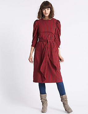 Poplin Sleeve Striped Tunic Midi Dress