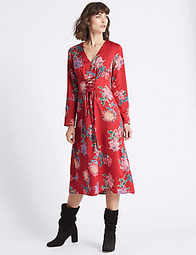 Floral Print Satin Swing Midi Dress