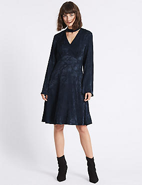 Jacquard Flared Sleeve Swing Dress