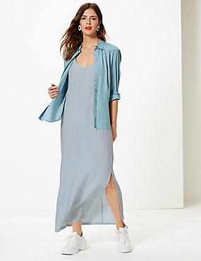 Striped Shift Maxi Dress, NAVY MIX, catlanding