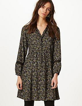 Floral Print Long Sleeve Relaxed Mini Dress, NAVY MIX, catlanding