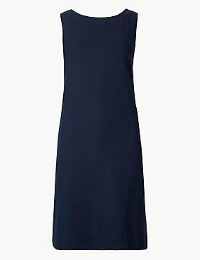 PETITE Linen Rich Round Neck Shift Dress, NAVY, catlanding