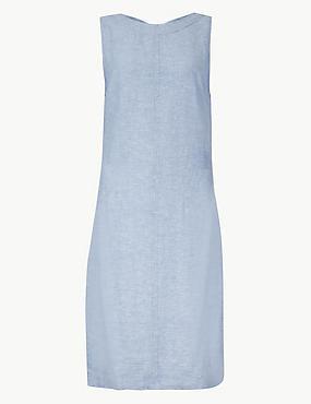 PETITE Linen Rich Round Neck Shift Dress, CHAMBRAY, catlanding