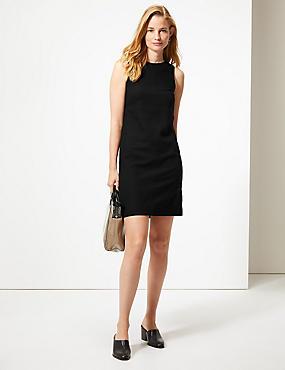 Linen Rich Round Neck Shift Dress, BLACK, catlanding