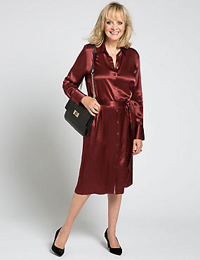 Long Sleeve Belted Shirt Dress