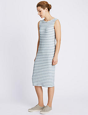 Striped Rib Sleeveless Midi Dress