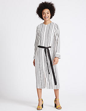 Striped Eyelet Shift Dress with Belt