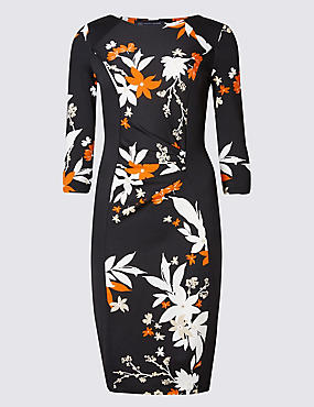 PETITE Floral Print 3/4 Sleeve Shift Dress
