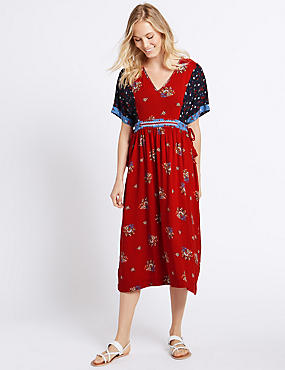 Patchwork Print Half Sleeve Midi Dress