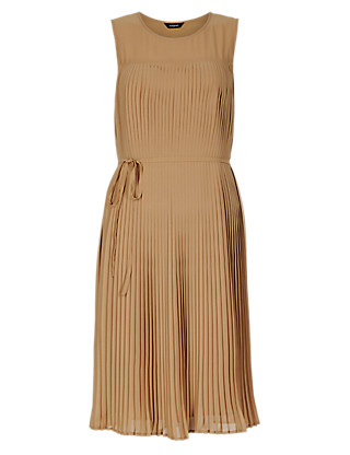 Sheer Pleated Shift Dress Clothing