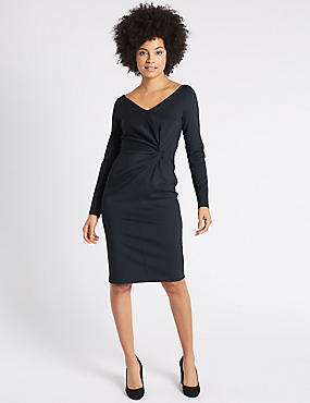 Knot Front Scuba Bodycon Midi Dress