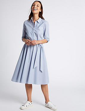 Pure Cotton Striped Long Sleeve Shirt Dress