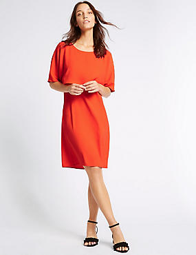Double Layer Tie Back Shift Dress