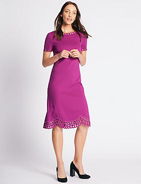 Cutwork Short Sleeve Skater Midi Dress
