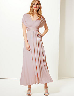 Multiway Strap Maxi Dress, BLUSH PINK, catlanding