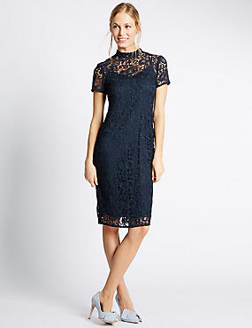 Floral Lace Layered Shift Dress