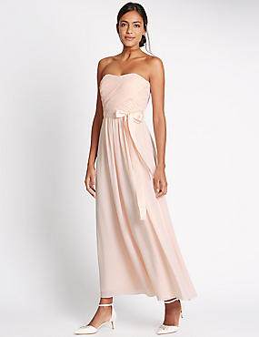 Strapless Pleated Maxi Dress with Belt