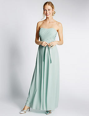 Detachable Straps Pleated Maxi Dress