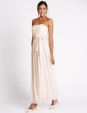 Detachable Straps Pleated Maxi Dress, IVORY, catlanding
