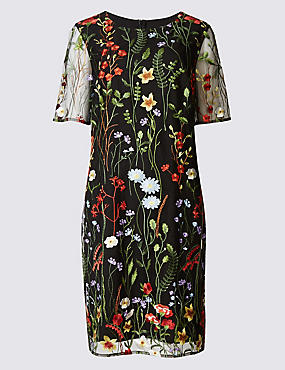 Embroidered Floral Half Sleeve Shift Dress