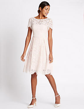 Short Sleeve Lace Skater Dress