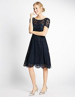 Cotton Blend Lace Swing Dress Navy Catlanding
