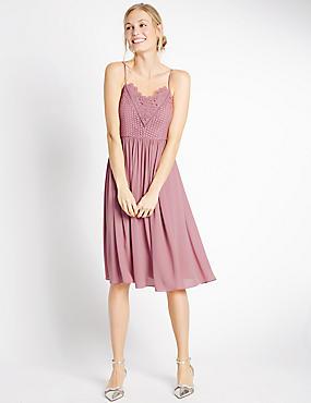 Floral Lace Gathered Hem Midi Dress, ANTIQUE ROSE, catlanding
