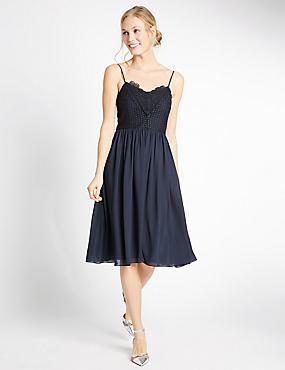 Floral Lace Gathered Hem Slip Midi Dress, NAVY, catlanding
